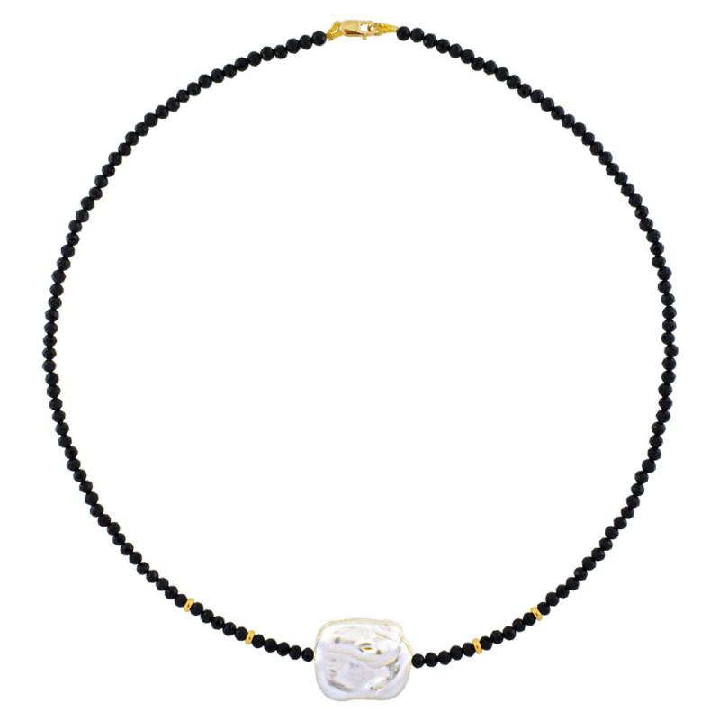 Κολιέ με spinel, μαργαριτάρι και χρυσά στοιχεία Κ14 - M123175