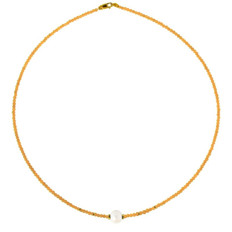 Κολιέ με Citrine και μαργαριτάρι και χρυσά στοιχεία 14K - M317740PCITR1P