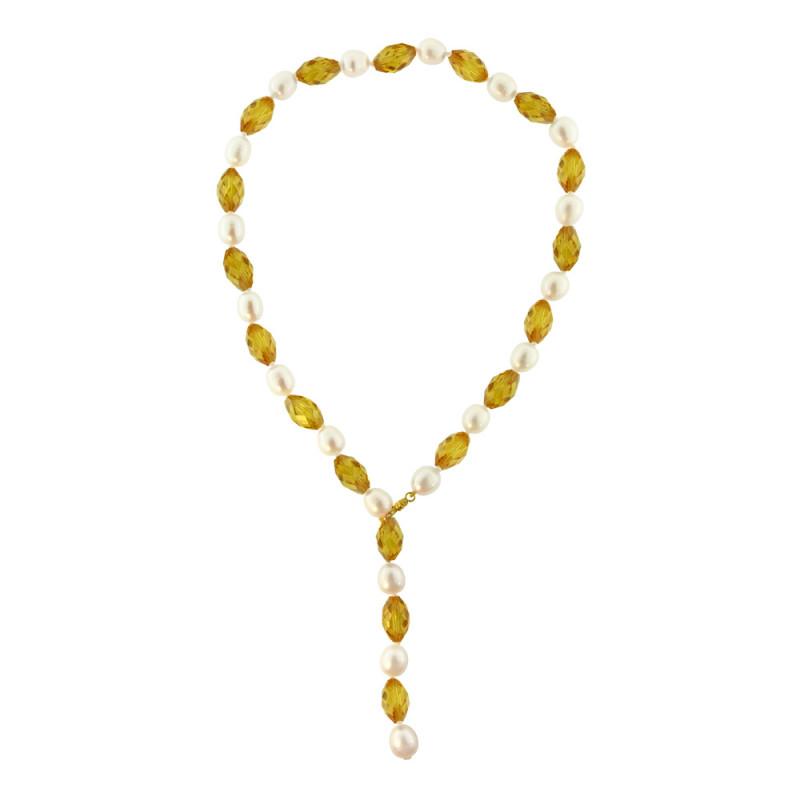 Κολιέ με citrine, μαργαριτάρια και χρυσό κούμπωμα 18K - M319296C
