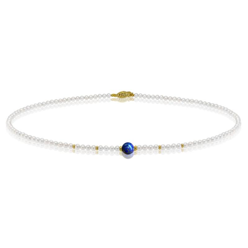 Κολιέ με λευκά μαργαριτάρια, λάπις λάζουλι και χρυσά στοιχεία 14K - M417009L