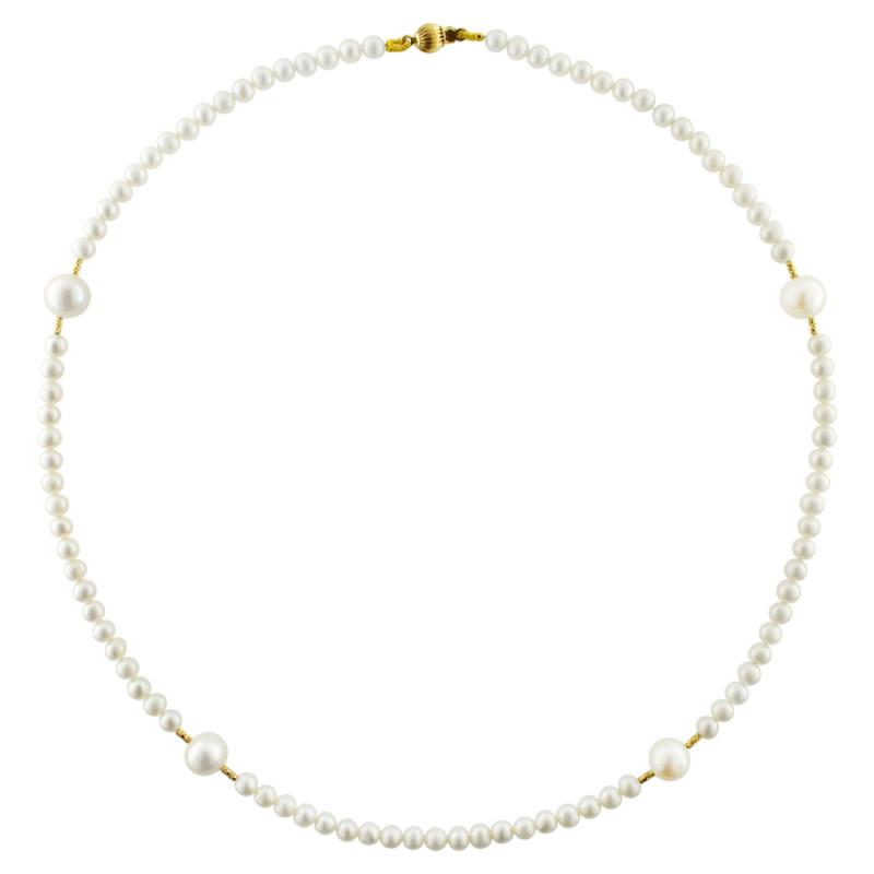 Κολιέ με λευκά μαργαριτάρια και χρυσά στοιχεία Κ18 - G122730