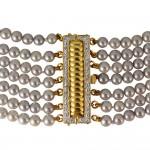 Κολιέ με μαργαριτάρια Akoya και χρυσά στοιχεία Κ18 με διαμάντια - M100039