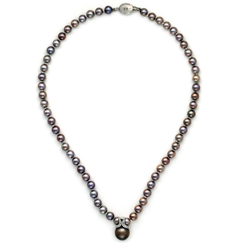 Κολιέ με μαργαριτάρια Akoya και λευκόχρυσα στοιχεία K18 - M105887