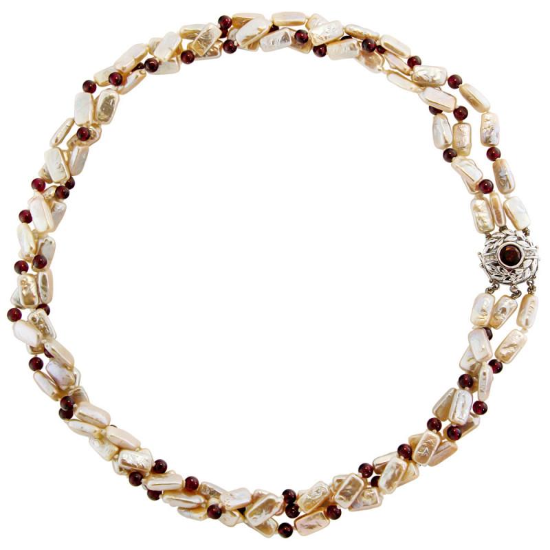 Κολιέ με λευκά μαργαριτάρια, γρανάδα και λευκόχρυσο κούμπωμα Κ14 - M106461
