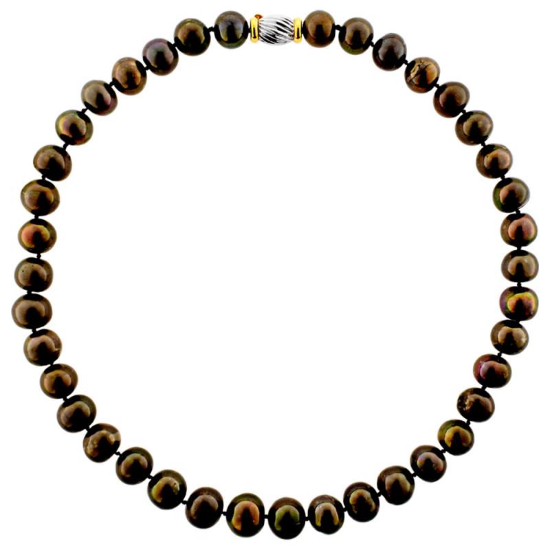 Κολιέ με μαύρα μαργαριτάρια και χρυσό κούμπωμα K18 - M107322
