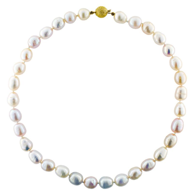 Κολιέ με πολύχρωμα μαργαριτάρια και χρυσό κούμπωμα Κ18 - M111963