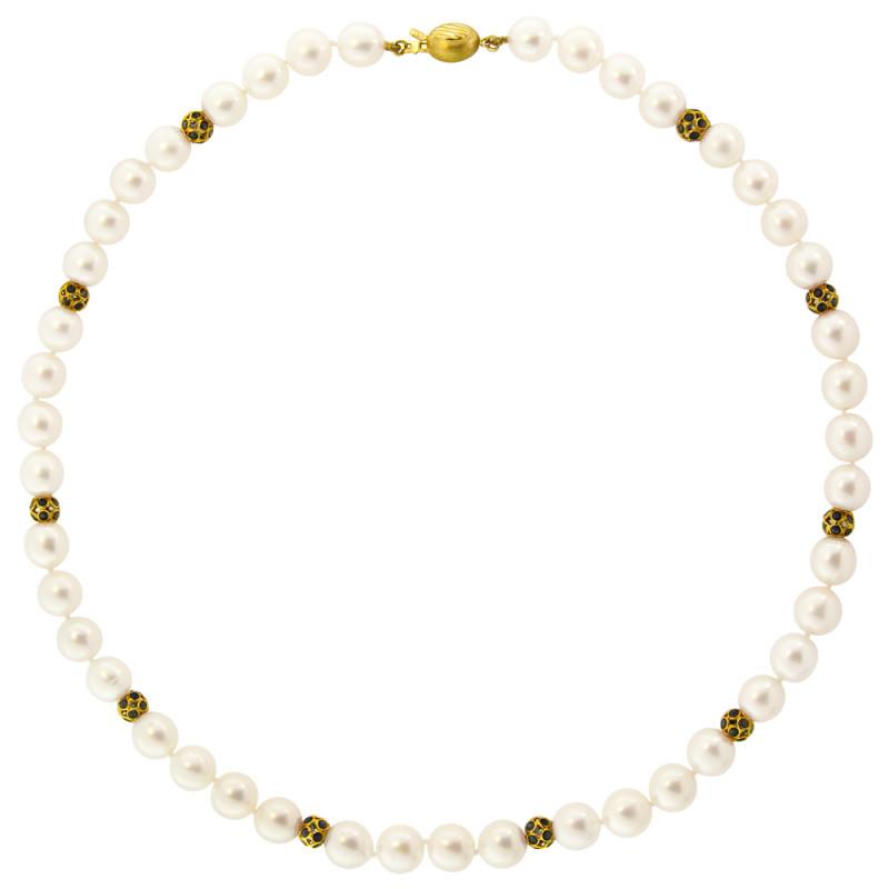 Κολιέ με λευκά μαργαριτάρια, ζαφείρια και χρυσά στοιχεία 18K - M114369