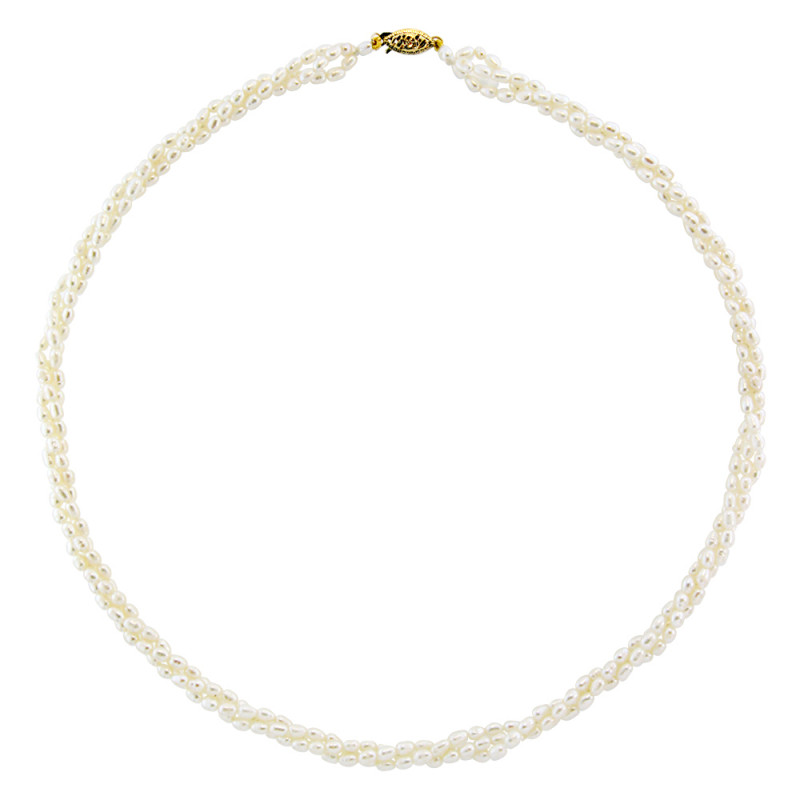 Κολιέ με λευκά μαργαριτάρια και χρυσό κούμπωμα Κ14 - M115291