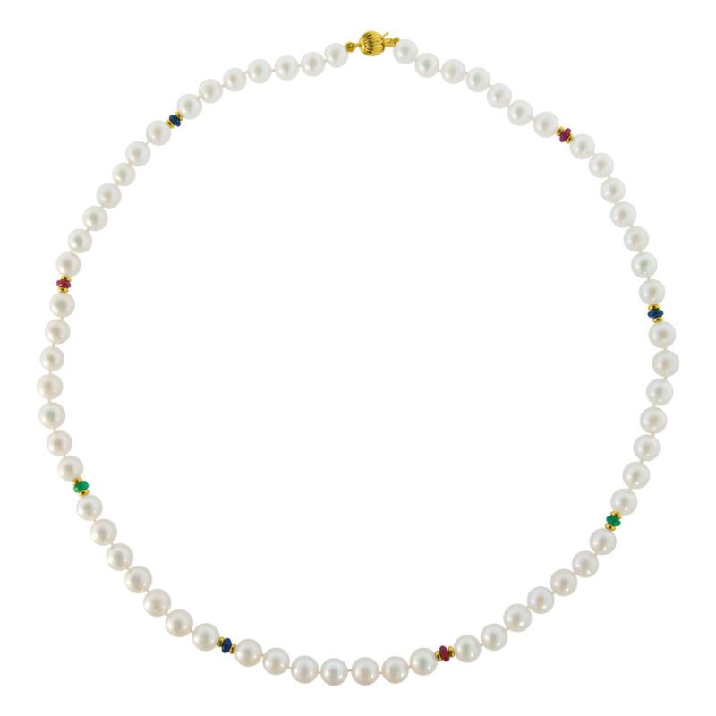 Κολιέ με λευκά μαργαριτάρια, ρουμπίνια, ζαφείρια, σμαράγδια και χρυσά στοιχεία 14K  - M116326
