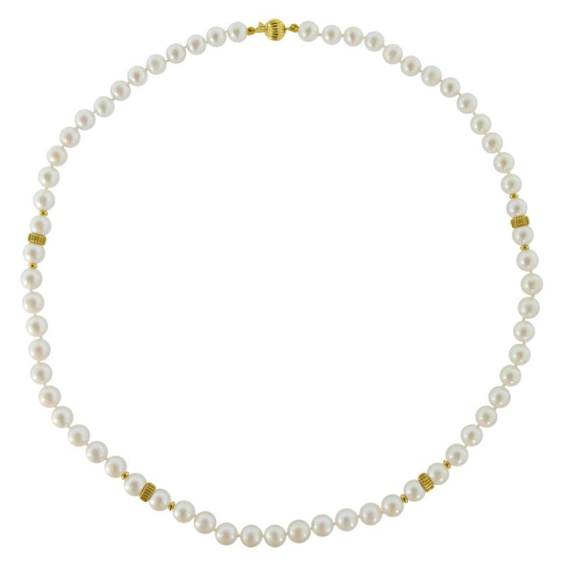 Κολιέ με λευκά μαργαριτάρια και χρυσά στοιχεία 14K - M116707