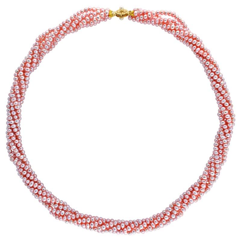 Κολιέ με πολύχρωμα μαργαριτάρια και χρυσό κούμπωμα 14K - M116813