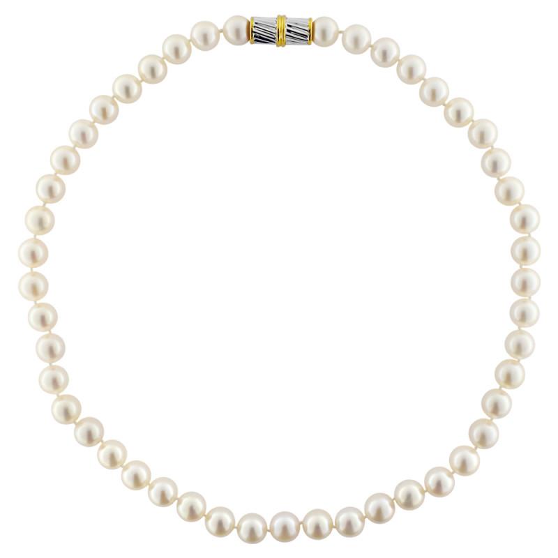 Κολιέ με λευκά μαργαριτάρια και χρυσό κούμπωμα K18 - M117031