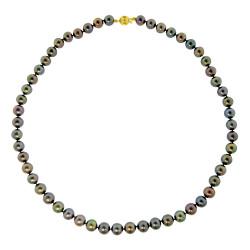 Κολιέ με μαύρα μαργαριτάρια και χρυσό κούμπωμα Κ14 - M117248B