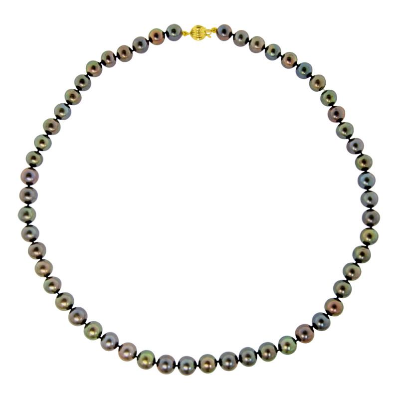 Κολιέ με μαύρα μαργαριτάρια και χρυσό κούμπωμα 14K - M117248B