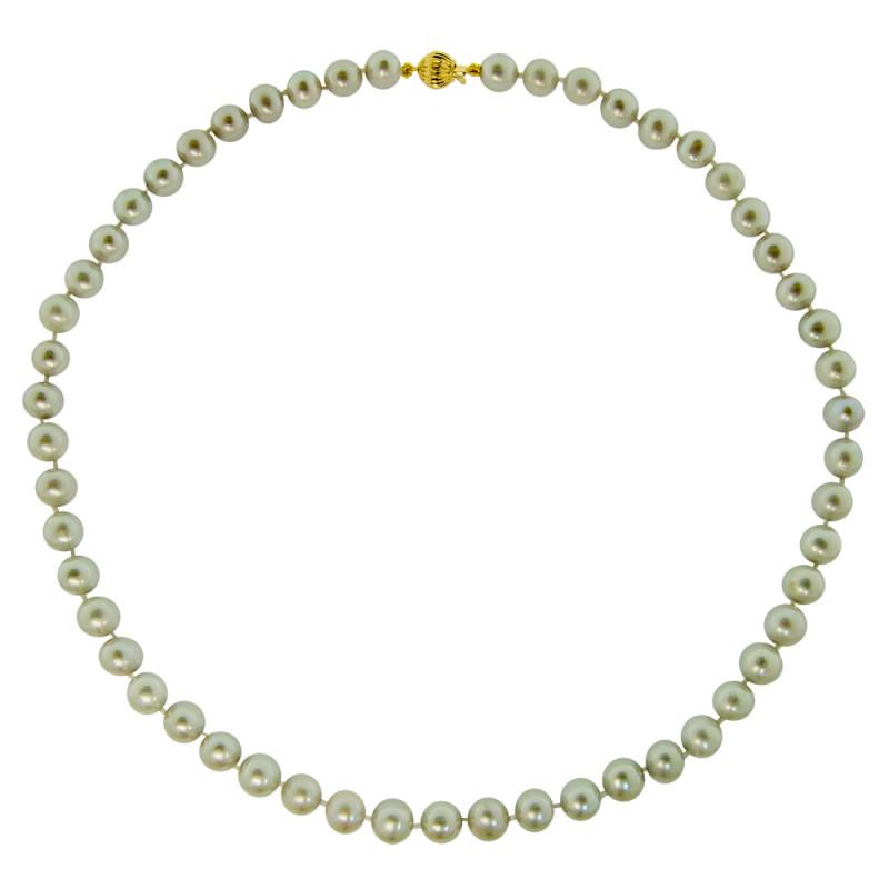 Κολιέ με γκρι μαργαριτάρια και χρυσό κούμπωμα Κ14 - M117248G