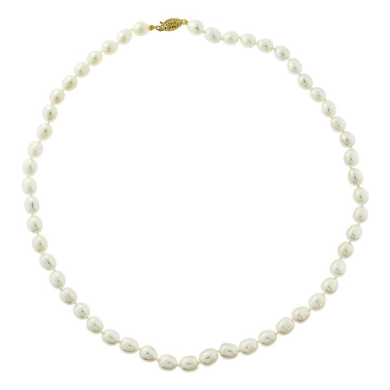 Κολιέ με λευκά μαργαριτάρια και χρυσό κούμπωμα 14K - M117450