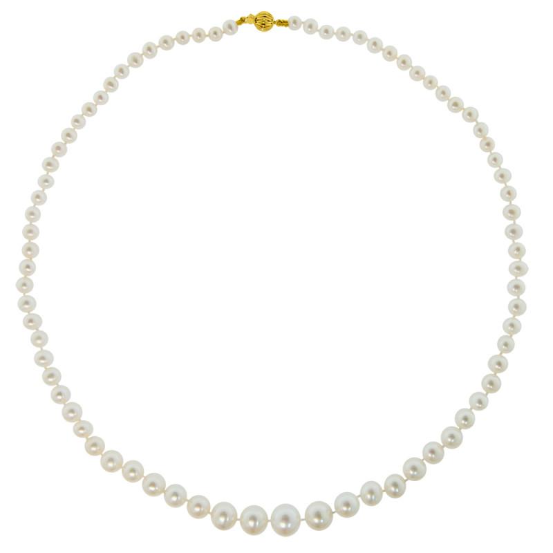 Κολιέ με λευκά μαργαριτάρια και χρυσό κούμπωμα 14K - M117727