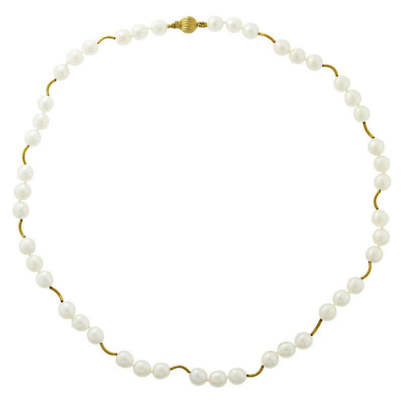 Κολιέ με λευκά μαργαριτάρια και χρυσά στοιχεία 22K - M117820