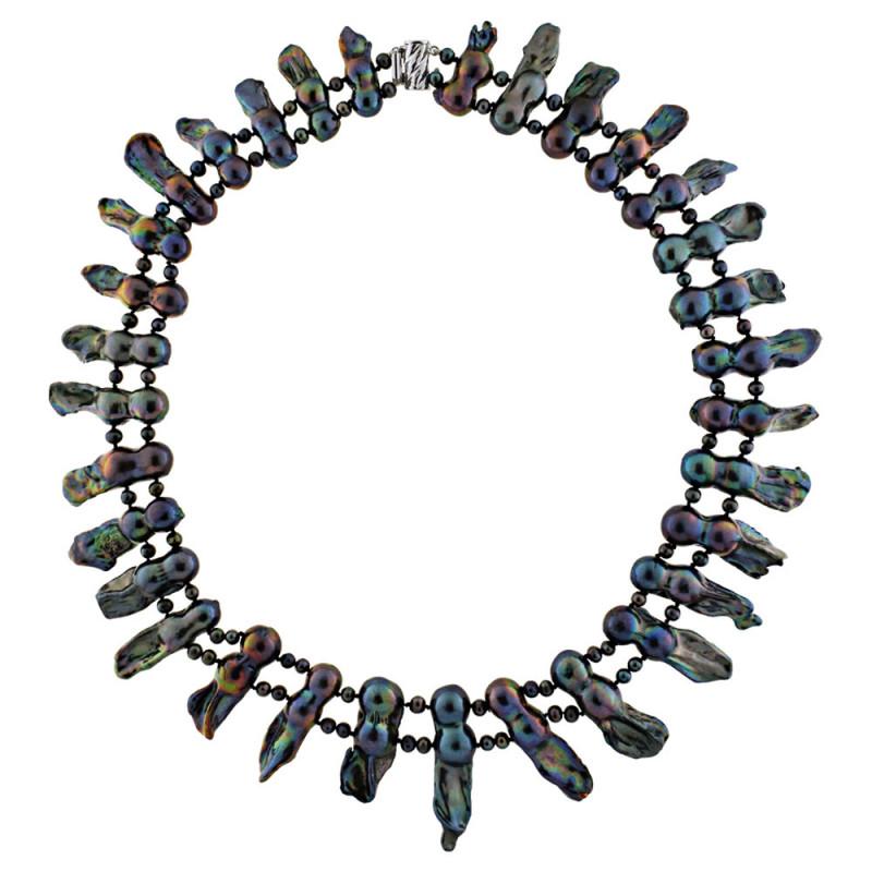 Κολιέ με μαργαριτάρια και λευκόχρυσο κούμπωμα K14 - M117859