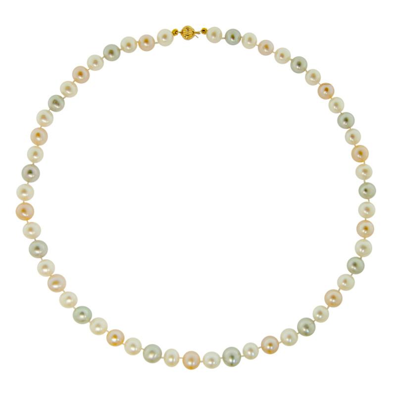 Κολιέ με πολύχρωμα μαργαριτάρια και χρυσό κούμπωμα Κ14 - M118272