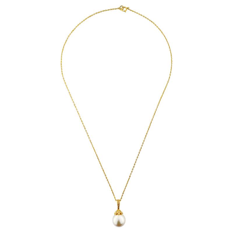 Κολιέ με μαργαριτάρι South Sea σε χρυσό K18 και διαμάντια - M119201