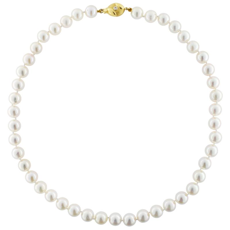 Κολιέ με λευκά μαργαριτάρια και χρυσό κούμπωμα K18 - M119403