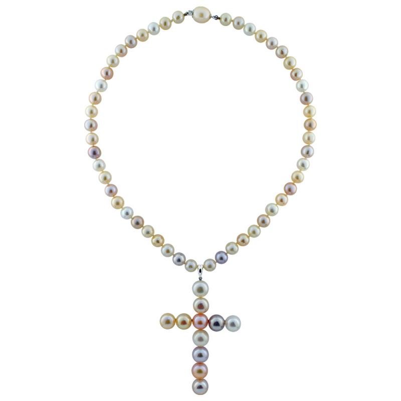 Κολιέ με πολύχρωμα μαργαριτάρια και λευκόχρυσο K18 - M119708