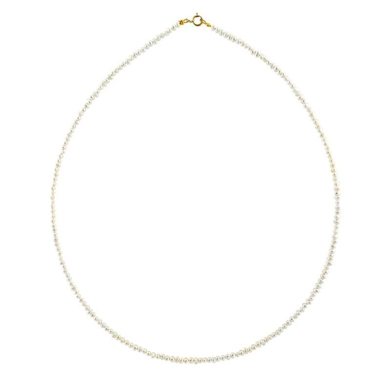 Κολιέ με λευκά μαργαριτάρια και χρυσο κούμπωμα Κ14 - M119916