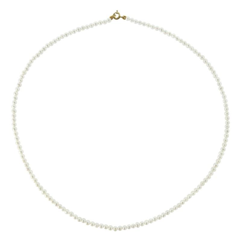 Κολιέ με λευκά μαργαριτάρια και χρυσο κούμπωμα Κ14 - M119917