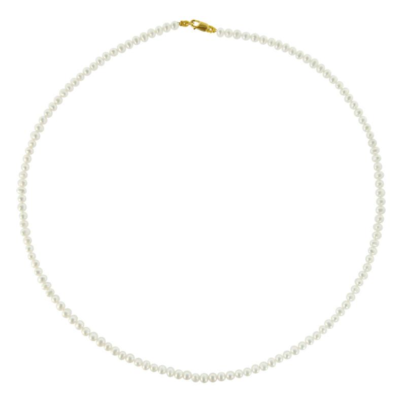Κολιέ με λευκά μαργαριτάρια και χρυσό κούμπωμα K14 - M122525