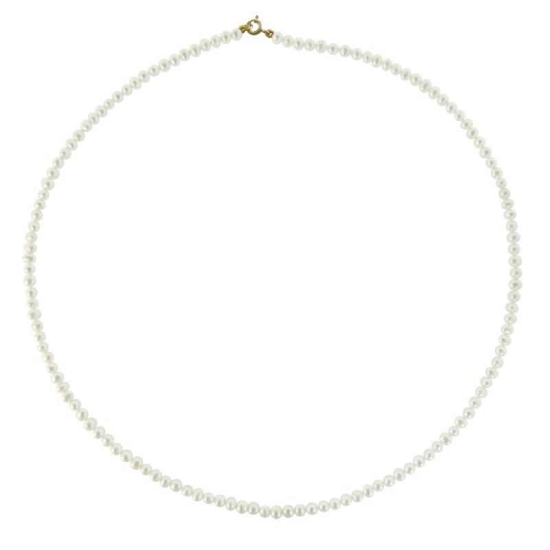 Κολιέ με λευκά μαργαριτάρια και χρυσο κούμπωμα Κ14 - M119918