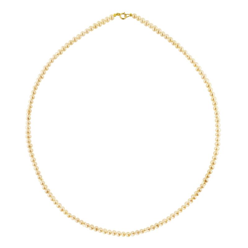 Κολιέ με σομόν μαργαριτάρια και χρυσό κούμπωμα Κ14 - M119918S