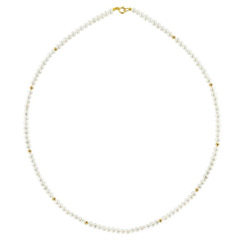 Κολιέ με λευκά μαργαριτάρια και χρυσο κούμπωμα Κ14 - M120430