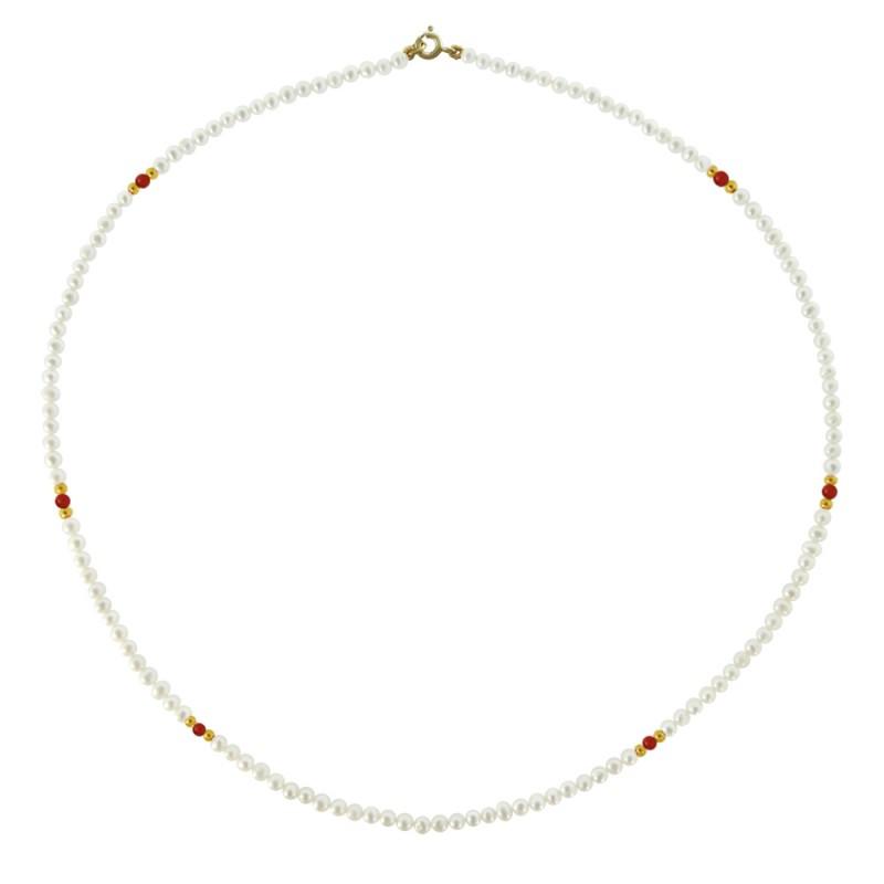 Κολιέ με λευκά μαργαριτάρια, κοράλι και χρυσό κούμπωμα Κ14 - M120457C