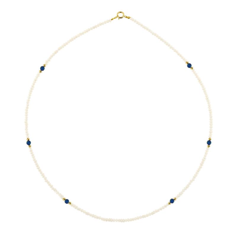 Κολιέ με λευκά μαργαριτάρια και λάπις λάζουλι - M120457L