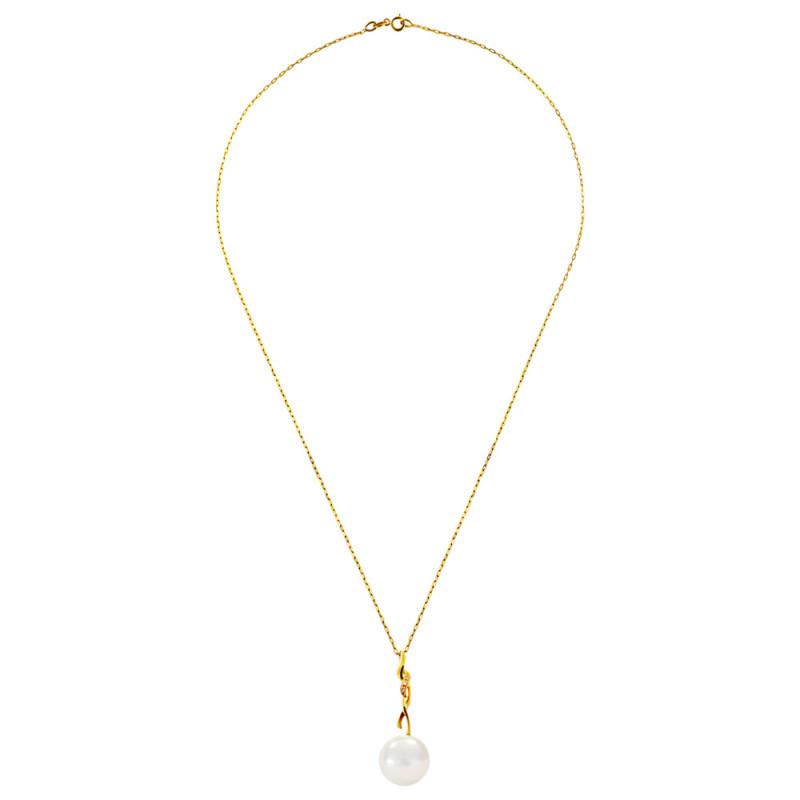 Κολιέ με μαργαριτάρι και διαμάντια σε χρυσή αλυσίδα Κ18 - M120545