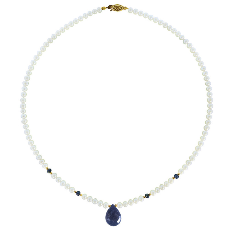 Κολιέ με λευκά μαργαριτάρια, ζαφείρια και χρυσά στοιχεία 14K - M120555S