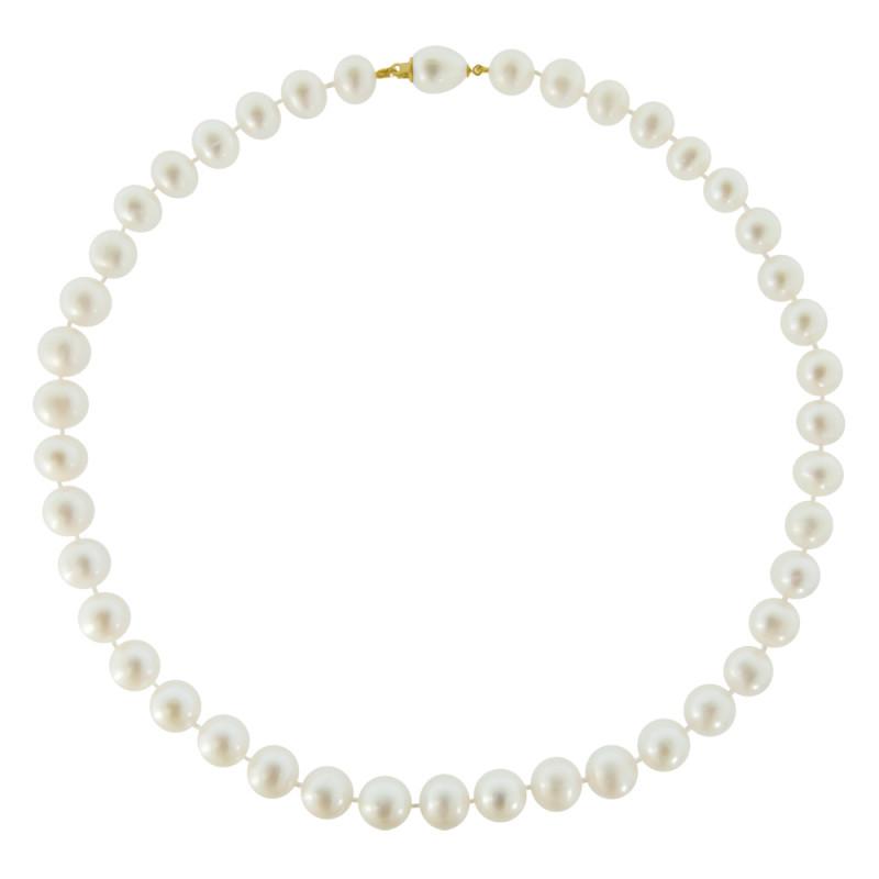 Κολιέ με λευκά μαργαριτάρια και χρυσά στοιχεία 18K - M120558