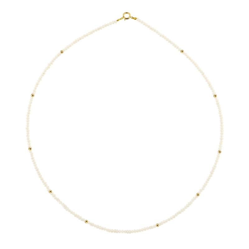 Κολιέ με λευκά μαργαριτάρια και χρυσό κούμπωμα Κ14 - M120593