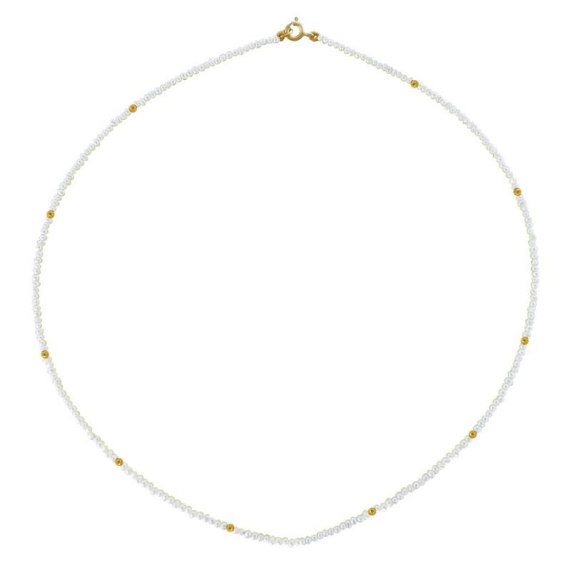 Κολιέ με λευκά μαργαριτάρια και χρυσο κούμπωμα Κ14 - M120593