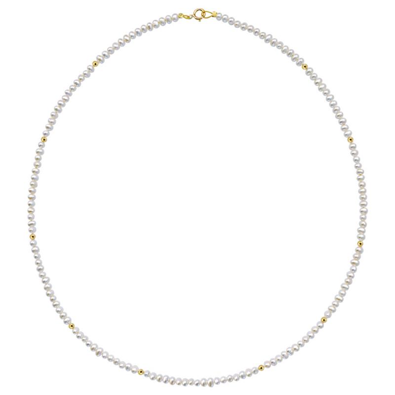 Κολιέ με λευκά μαργαριτάρια και χρυσο κούμπωμα Κ14 - M120599