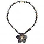 Κολιέ με μαύρα μαργαριτάρια και χρυσό κούμπωμα K14 - M120927