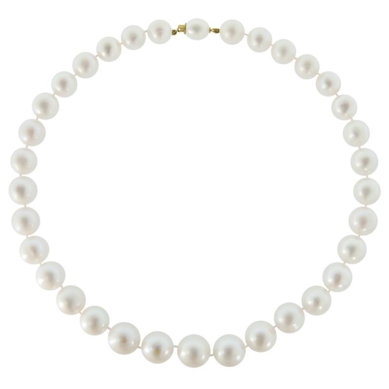 Κολιέ με λευκά μαργαριτάρια και χρυσά στοιχεία 18K - M120940