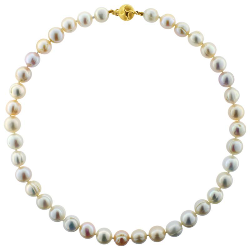 Κολιέ με πολύχρωμα μαργαριτάρια και χρυσό κούμπωμα Κ18 - M120961