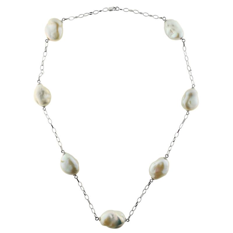 Κολιέ με λευκά μαργαριτάρια σε λευκόχρυση αλυσίδα Κ18 - M120962