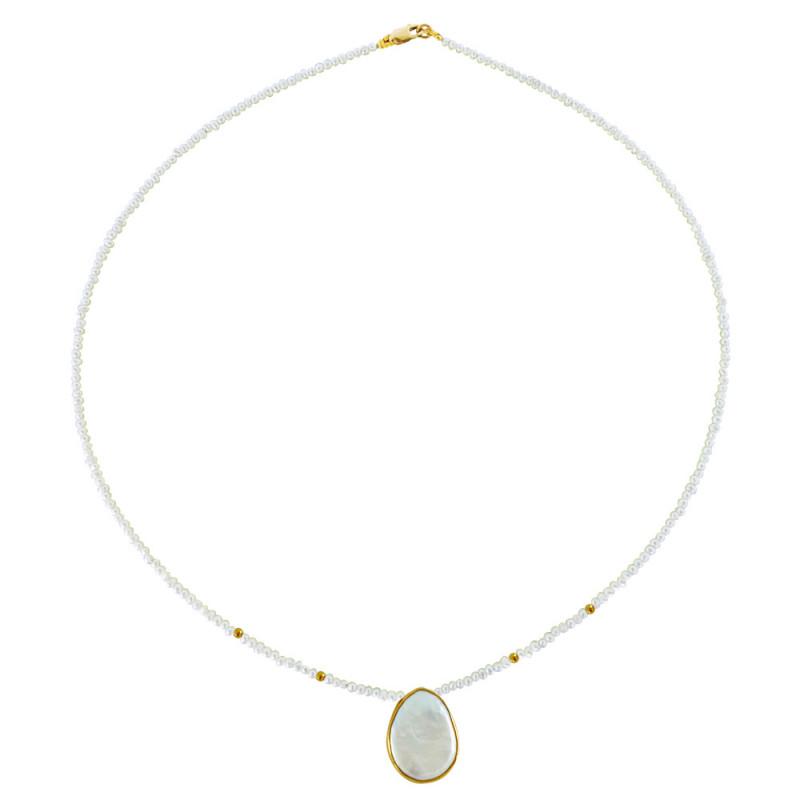 Κολιέ με λευκά μαργαριτάρια - M121220