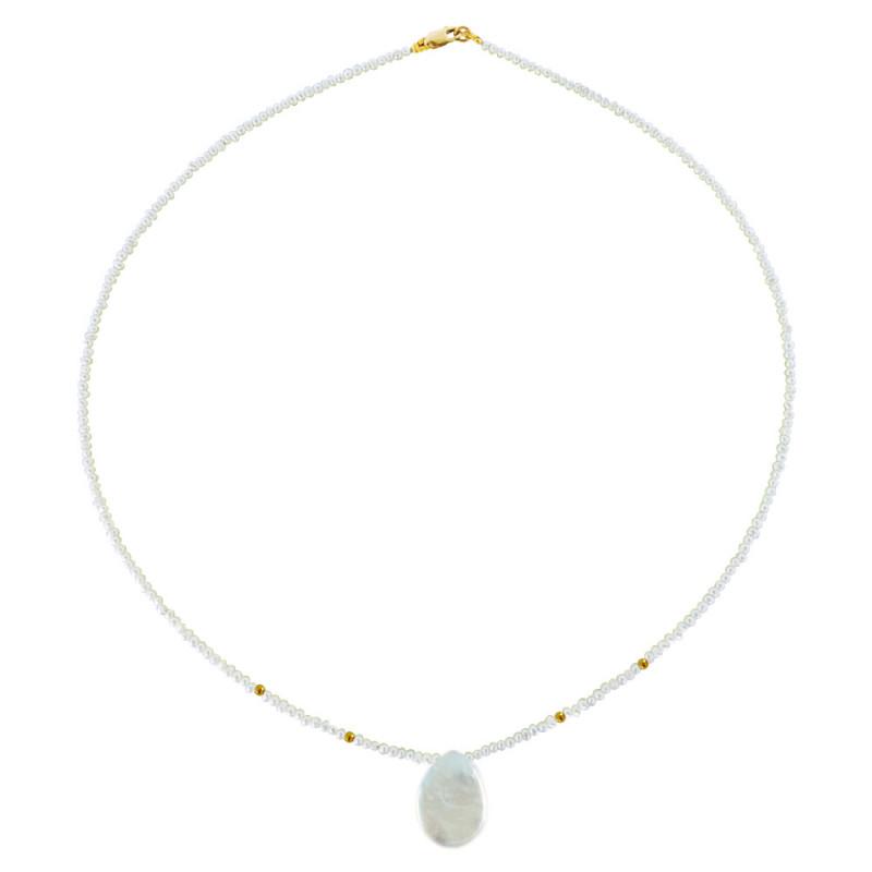 Κολιέ με λευκά μαργαριτάρια και χρυσά στοιχεία 14K - M121220XP