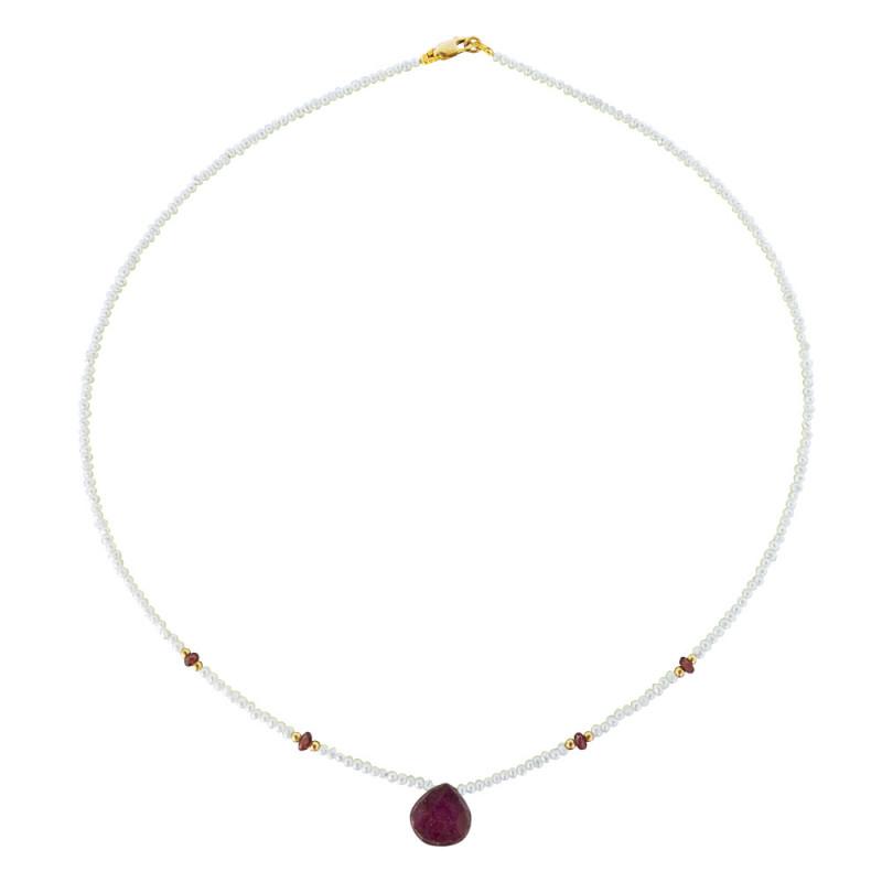 Κολιέ με λευκά μαργαριτάρια, ρουμπίνια και χρυσά στοιχεία 14K - M122347R