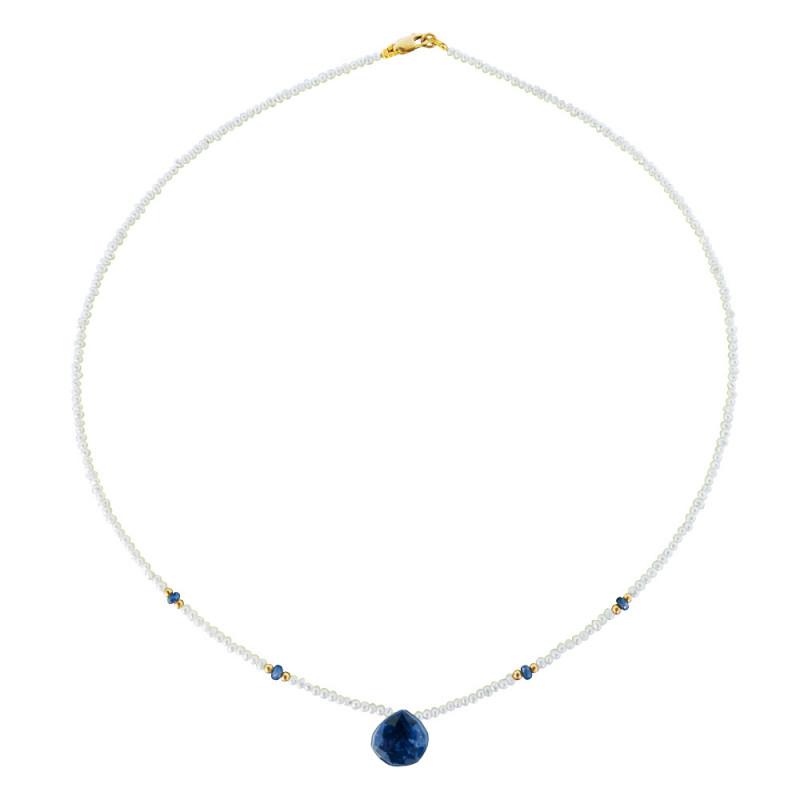 Κολιέ με λευκά μαργαριτάρια, ζαφείρια και χρυσά στοιχεία 14K - M122347S