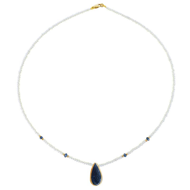 Κολιέ με λευκά μαργαριτάρια, ζαφείρια και χρυσά στοιχεία 14K - M121222S